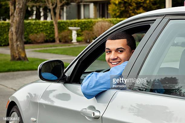 Young Man Behind The Wheel