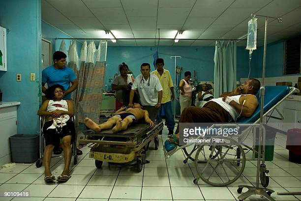 A young man being attended to in Manolo Morales hospital emergency department after being attacked and robbed in a Managua street In this hospital...