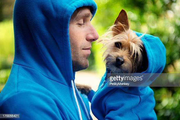 Young Man Best Friend Dog Matching Blue Hoodies Outdoors Park