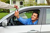Young Man Borrowing Friend's Car