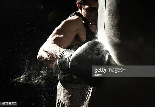 young man boxing - boxing gloves stock photos and pictures