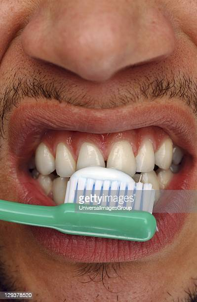 Young man brushing his teeth with toothpaste and tooth brush closeup Regular brushing of teeth helps prevent tooth decay and gum disease