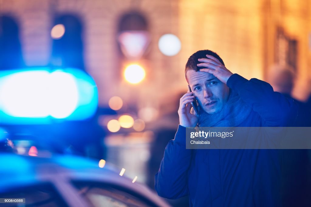 Young man calling after a crisis situation : Stock Photo