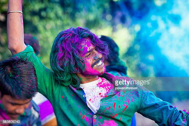 Young Man Celebrating Holi Festival in India