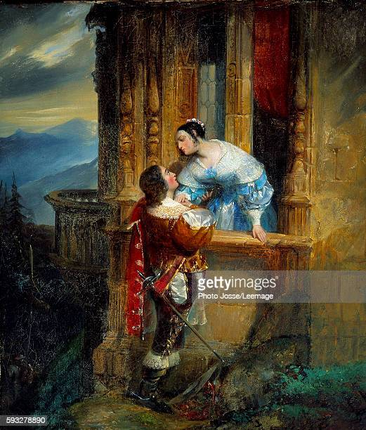 Young man courting a young lady balcony scene Illustration for the 'Romeo and Juliet' of William Shakespeare Anonymous painting of the 19th century...