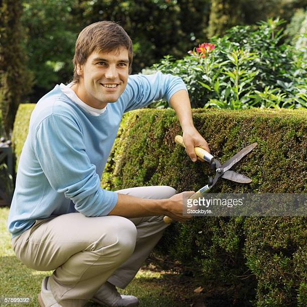 Young man cutting a hedge with a hedge clippers