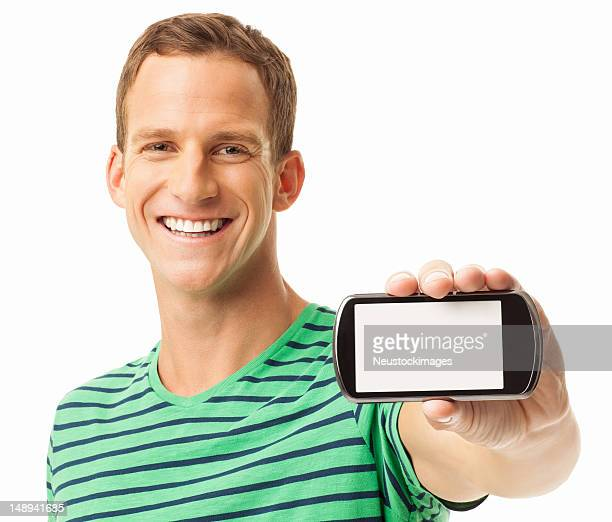 Young Man Displaying Smart Phone - Isolated