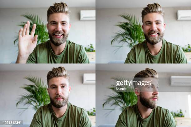 young man during video call - caucasian ethnicity stock pictures, royalty-free photos & images