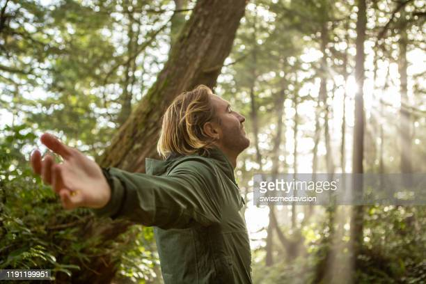young man embracing rainforest standing in sunbeams illuminating the trees - inhaling stock pictures, royalty-free photos & images