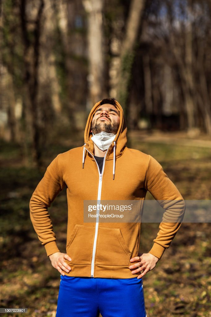 Young man exercise in the forest : Stock Photo