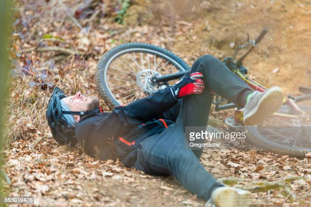 Young man fell off mountain bike
