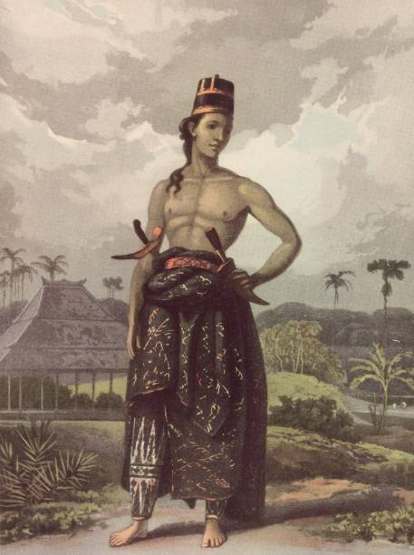A young man from Java wearing court dress, with two...