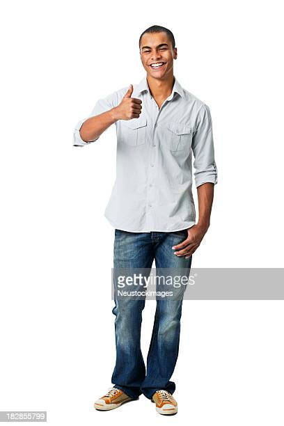 young man giving thumbs up gesture - isolated - rolled up sleeves stock pictures, royalty-free photos & images