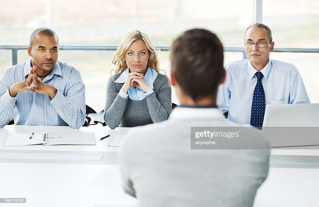 Young man have job interview. : Stock Photo