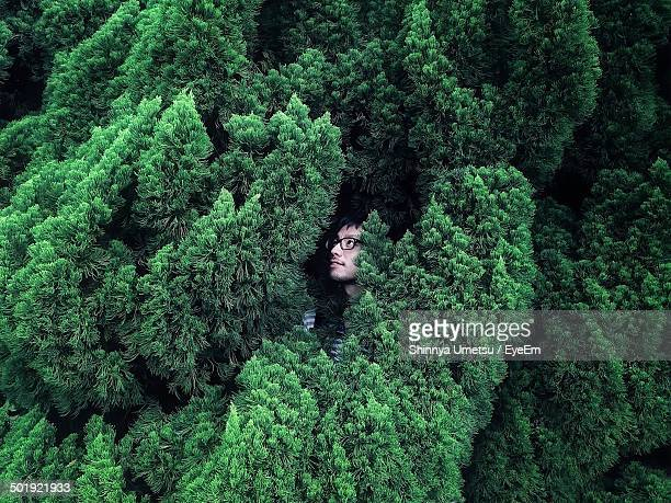 Young man hiding in bush
