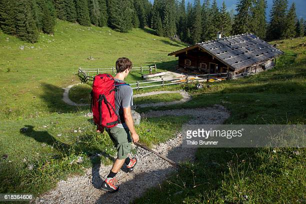 Young man hiking in mountains