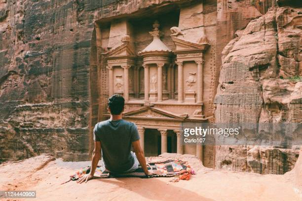 Young man hiking in Petra, Jordan