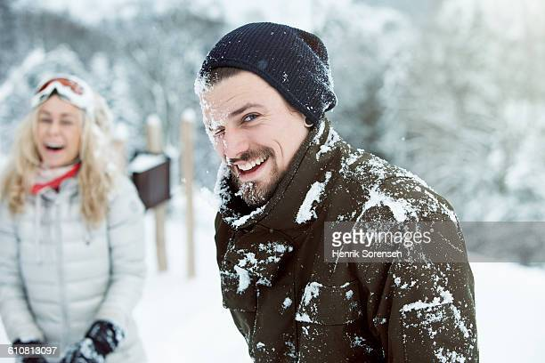 Young man hit by snowball