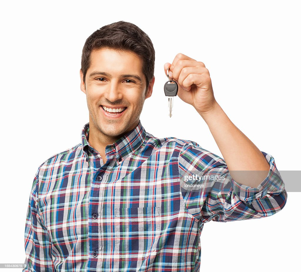 Young Man Holding Car Key - Isolated : Stock Photo