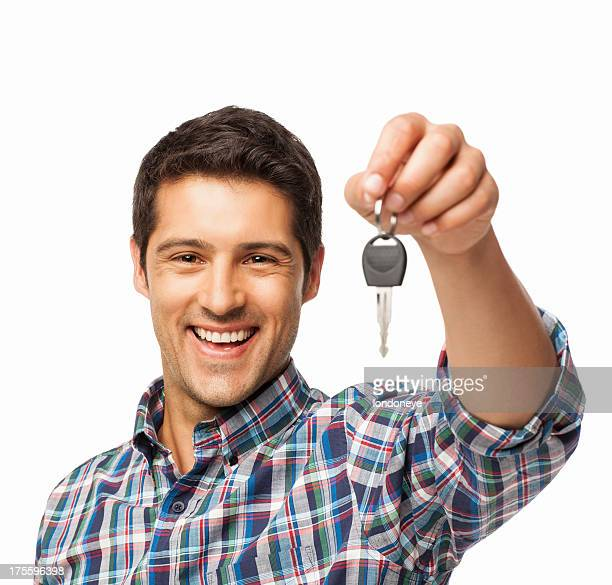 Young Man Holding Car Key - Isolated