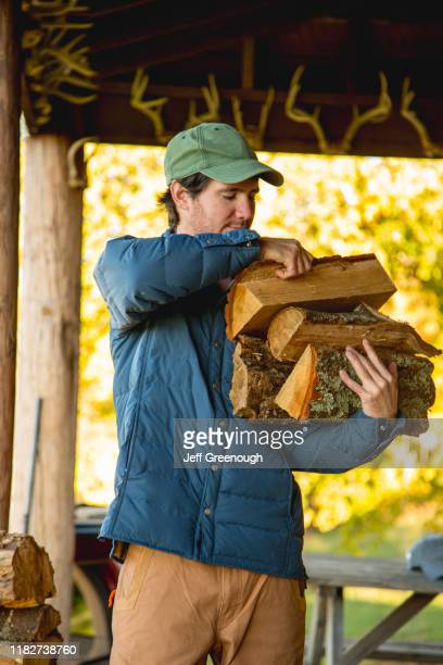 young man holding firewood - 薪 ストックフォトと画像