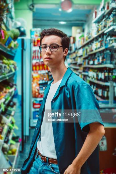 Young man in a supermarket
