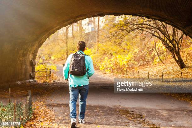 Young man in Central Park in autumn, New York City