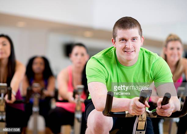 Young Man in Spinning Class
