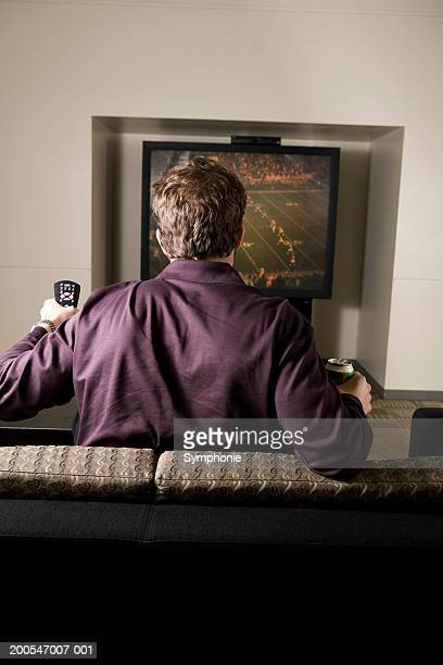Young man in front of television with remote, rear view
