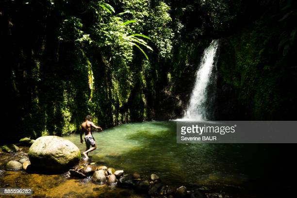 a young man in front of the seven sisters waterfall, grenada, west indies - paisajes de isla de  granada fotografías e imágenes de stock
