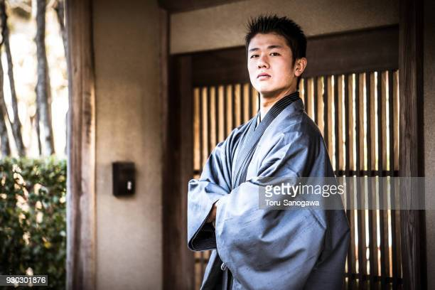 young man in kamakura - traditional clothing stock pictures, royalty-free photos & images