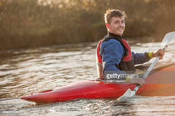 Young man in kayak