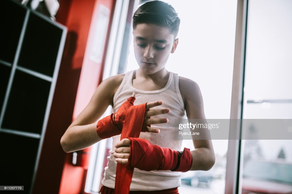 Young Man In Kickboxing Training Center : Stock Photo