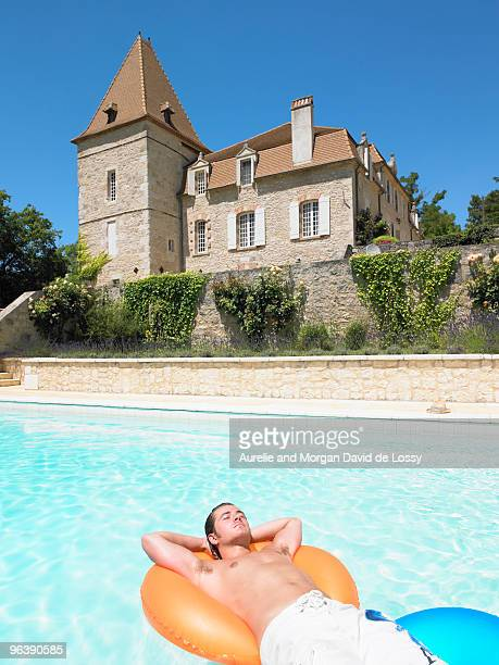 young man in pool