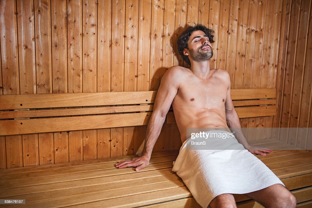 Young man in sauna. : Stock Photo