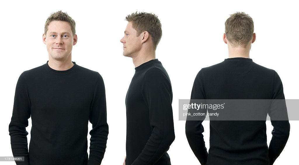 A young man in three different poses : Stockfoto