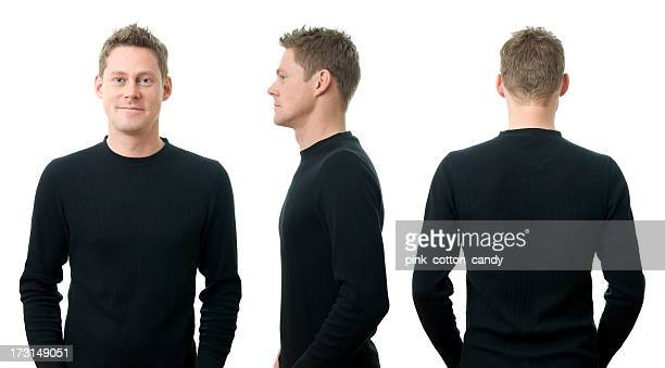 a young man in three different poses - bovenlichaam stockfoto's en -beelden