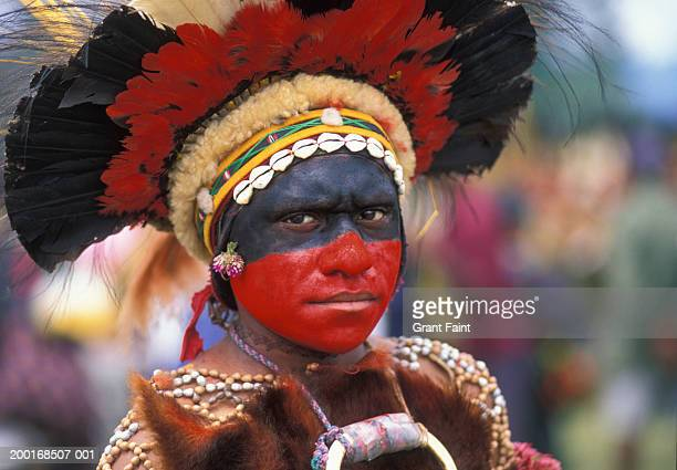 young man in tribal costume, portrait - papua new guinea stock pictures, royalty-free photos & images