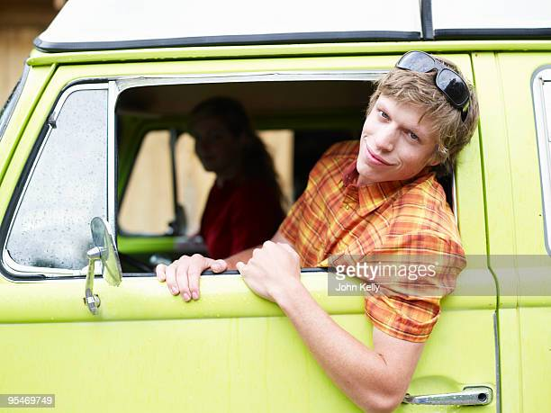 Young man in truck