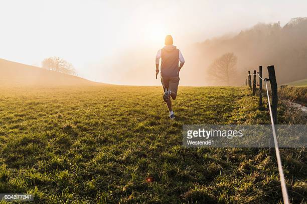 Young man jogging in the morning