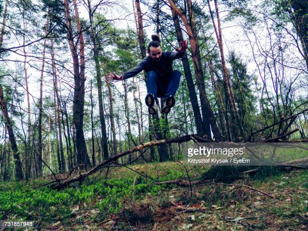 Young Man Jumping Over Broken Branches Against Trees In Forest