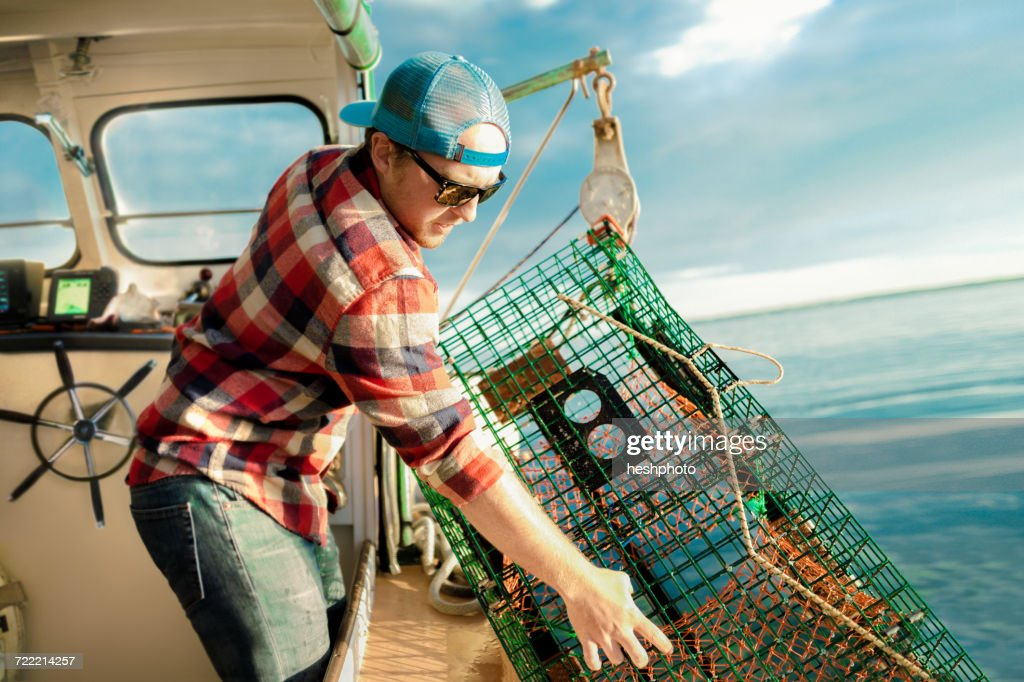 Young man lifting lobster cage from winch on fishing boat on coast of Maine, USA : Stock Photo