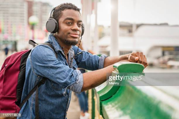 Young Man Listening To Music Darling Harbour Sydney