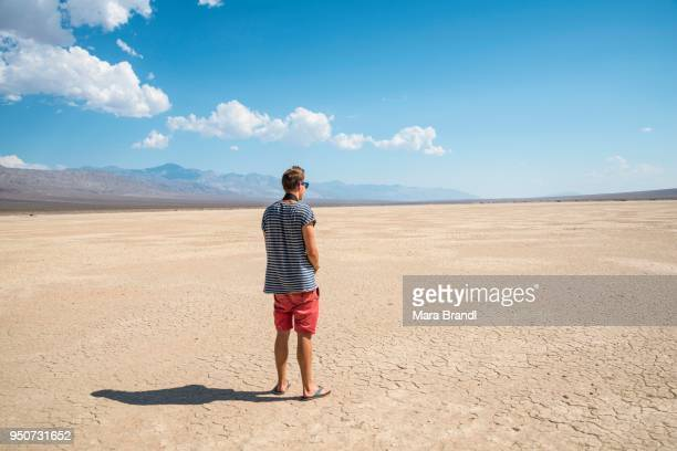Young man looking across vast landscape, Death Valley, Death Valley National Park, California, USA