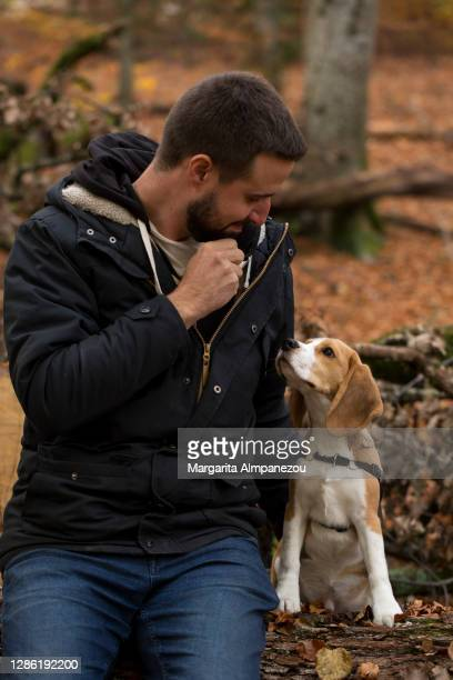 young man looking at his cute puppy outside in the nature - vaud canton stock pictures, royalty-free photos & images