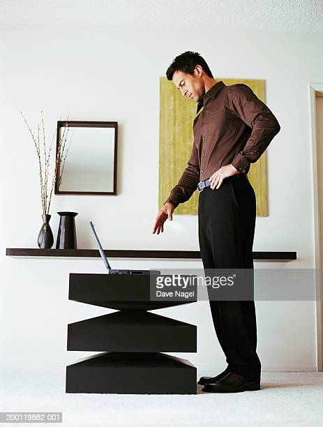 young man looking at laptop in living room, side view - 手を伸ばす 男性 ストックフォトと画像