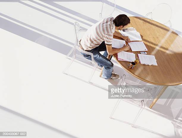 Young man looking at paperwork laid out on table, elevated view
