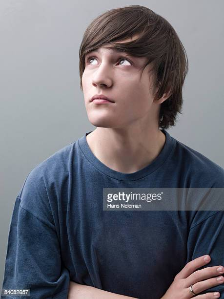 Young man looking up