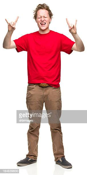 young man makes sign of the horns hand gesture - gesturing stock pictures, royalty-free photos & images