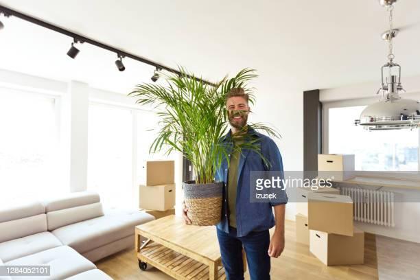 giovane che muove un nuovo appartamento - izusek foto e immagini stock